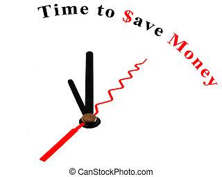 tijd, bewaren geld, klok, concept