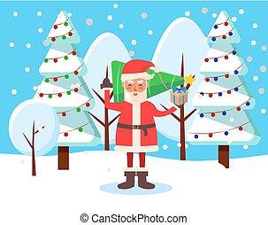 tijd, bos, winter, stander, claus, kerstmis, kerstman
