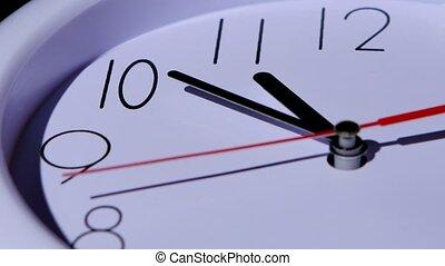 tijd, closeup, klok, achtergrond, concept, witte