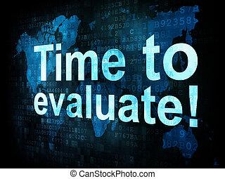 tijd, concept:, pixelated, woorden, tijd, om te evalueren,...