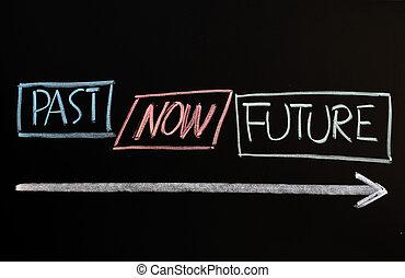 tijd, concept, van, voorbij, kado, en, toekomst