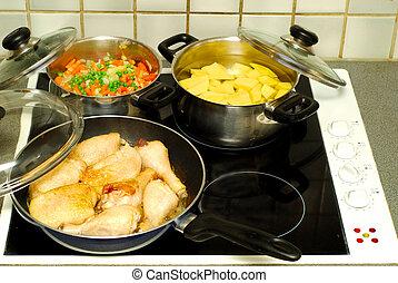 tijd, diner, het koken