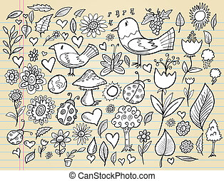 tijd, doodle, set, lente, aantekenboekje