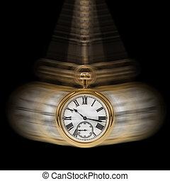 tijd, en, motie, black