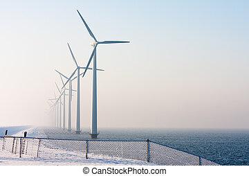 tijd, hollandse, turbines, wind, winter, voor de kust