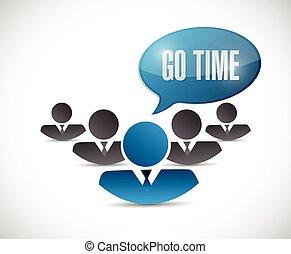 tijd, illustratie, ontwerp, team, gaan, boodschap