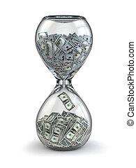 tijd, is, geld., inflation., hourglass, en, dollar.