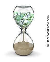 tijd, is, geld., inflation., hourglass, en, euro.