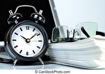 tijd, kantoor, en, schrijfwerk