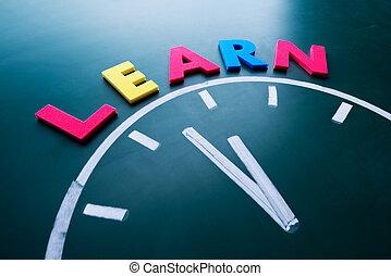 tijd, om aan te leren, concept