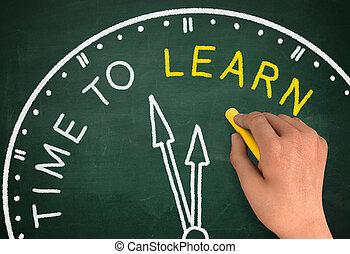 tijd, om aan te leren, klok, chalkboard, schrijf, concept, 3d, illustratie