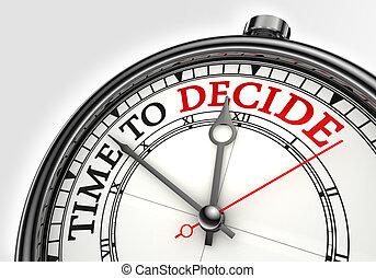 tijd, om te beslisen, concept, klok