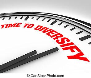 tijd, om te, diversify, klok, beheren, investering,...