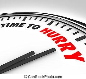 tijd, om te, haast, klok, tellingen, dons, om te, deadline