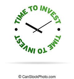 tijd, om te investeren, klok