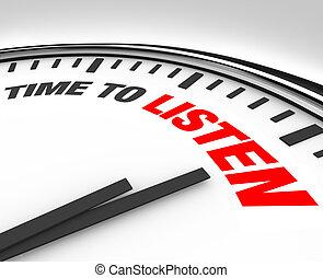 tijd, om te luisteren, woorden, op, klok, -, horen, en,...