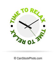 tijd, om te, verslappen, klok