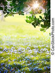 tijd, pasen, kunst, groen bos, lente, zonlicht