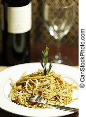tijd, pasta, maaltijd, f
