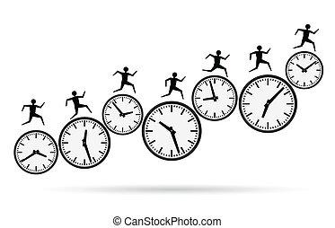 tijd, rennende , werkende, uit, concepten