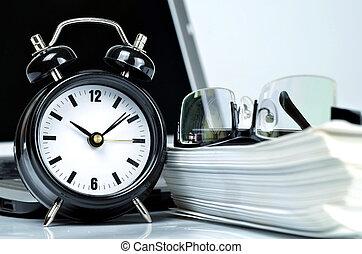 tijd, schrijfwerk, kantoor
