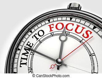 tijd, te focust, concept, klok, closeup