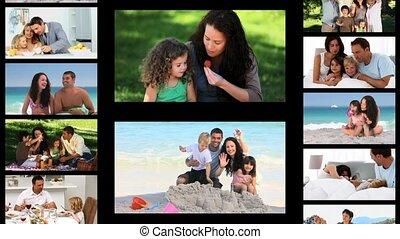 tijd, uitgeven, montage, families