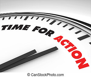 tijd, voor, actie, -, klok