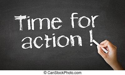 tijd, voor, actie, krijt, illustratie