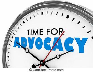 tijd, voor, advocacy, steun, verdediging, klok, 3d, illustratie