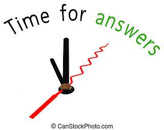tijd, voor, antwoorden, klok, concept