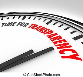 tijd, voor, doorzichtigheid, duidelijkheid, eerlijk,...