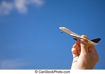 tijd, voor, reizen, door, lucht