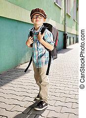 tijd, voor, school., dromerig, kid.