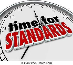 tijd, voor, standaarden, klok, testen, evaluatie