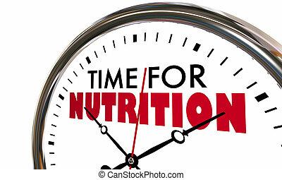 tijd, voor, voeding, eet gezond, klok, 3d, illustratie
