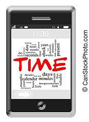 tijd, woord, wolk, concept, op, touchscreen, telefoon