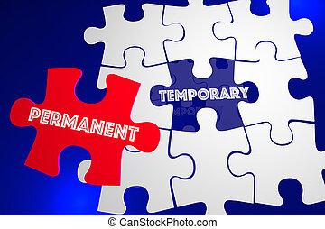tijdelijk, raadsel, oplossing, illustratie, opgeloste, vs, permanent, probleem, 3d
