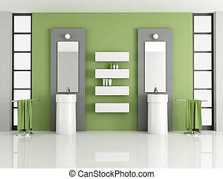 tijdgenoot, groene, badkamer