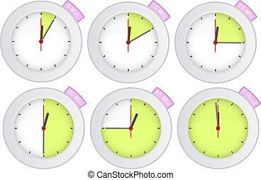 tijdopnemer, klok, met, 5, tien, 15, 30, 45