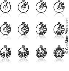 tijdopnemer, pictogram, set