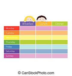 tijdschema, kleur, geitjes, vector