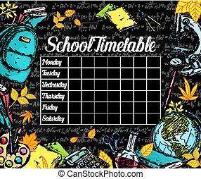 tijdschema, school, vector, black , chalkboard