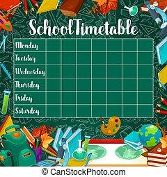 tijdschema, school, vector, groen chalkboard