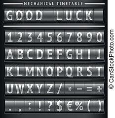tijdschema, set, brieven, mechanisch