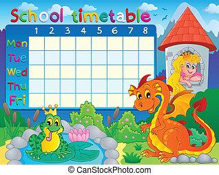 tijdschema, thematisch, school, beeld, 4