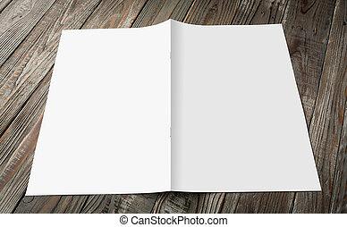 tijdschriften, (, op, hout, achtergrond, leeg, catalogus,...