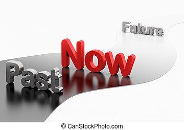 tijdsverloop, concept:, 3d, woord, past-now-future