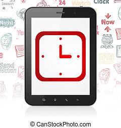 tijdsverloop, concept:, tablet, computer, met, horloge, op tentoonstelling