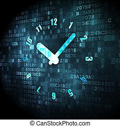 tijdsverloop, digitale , concept:, achtergrond, klok